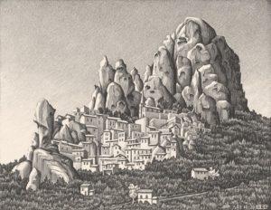 Pentedattilo, Calabria, litografia.1930.
