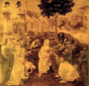 Adorazione dei Magi. 1481 – 1482, olio su tavola. Galleria degli Uffizi, Firenze.