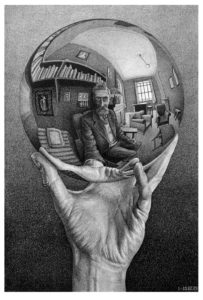 Mano con sfera riflettente, litografia.1935.