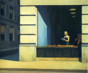 Edward Hopper, New York Office. Olio su tela, 1962.